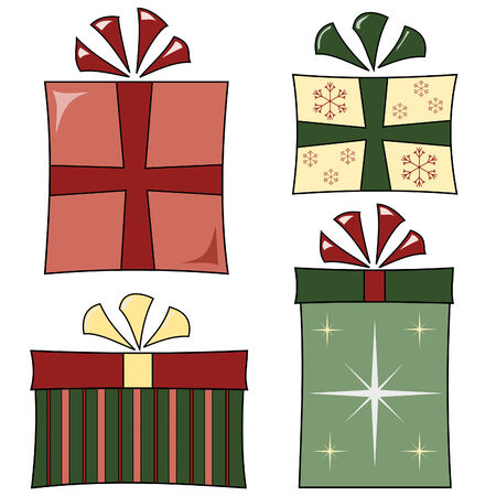 set of four funky wrapped Christmas gifts Vectores