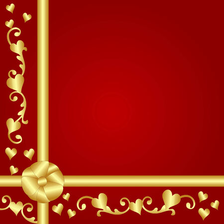 иллюстрация: Red gift with gold ribbon, bows, hearts and scrolls