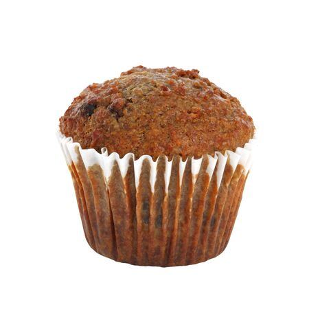 bran muffin isolated on white background photo