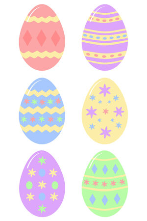 six colourful decorated Easter eggs