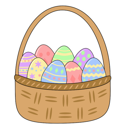 woven basket full of decorated easter eggs