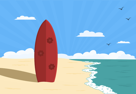 red surfboard standing upright on sandy beach Vectores
