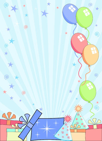 blue green background: party background with gifts hats and balloons