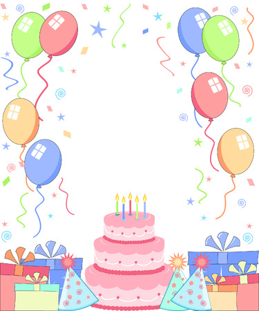 party background with cake hats and balloons Vectores
