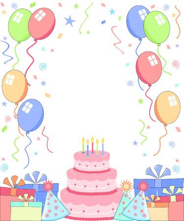 partij achtergrond met cake hoeden en ballonnen