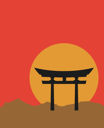 Silhouette of Japanese Torii gate at sunset Vectores
