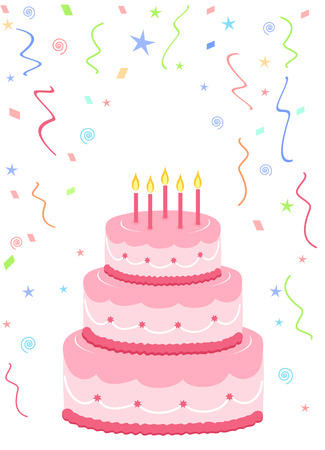 lit candles: pink birthday cake with confetti on white background