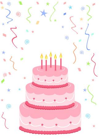 roze verjaardagstaart met confetti op witte achtergrond