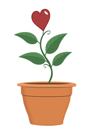 Plant in terra cotta pot with heart in bloom for Valentines Day Vector