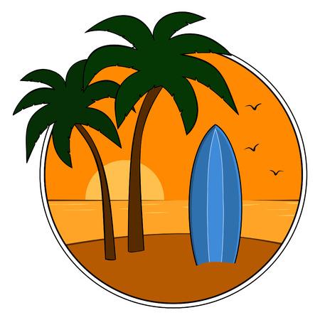 blauwe surfplank op tropisch strand bij zonsondergang