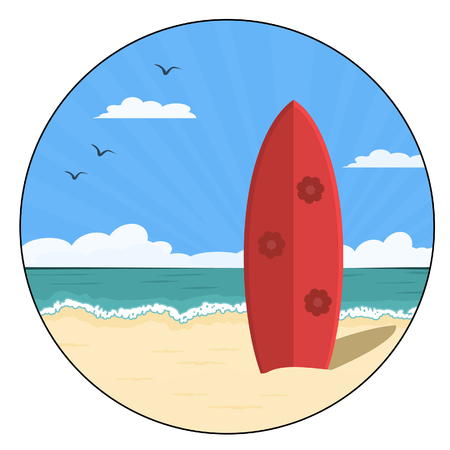 red surfboard standing upright on sandy beach Vector