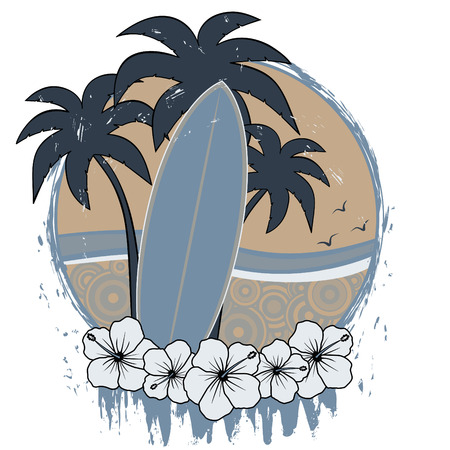surfboard with palm trees and hibiscus flowers with retro beach and grunge