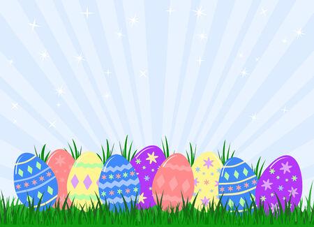 잔디에 숨겨진 다채로운 장식 된 부활절 달걀의 다양 한