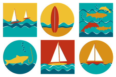 windsurf: set of six colourful sailing surfing and fishing icons