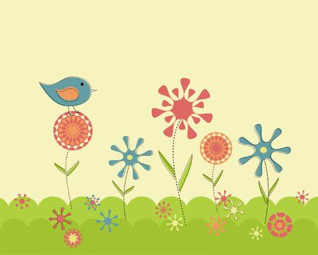 벡터 레트로 봄 꽃 정원