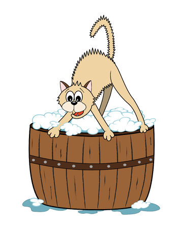 cartoon cat scared to have a bath in the wooden tub