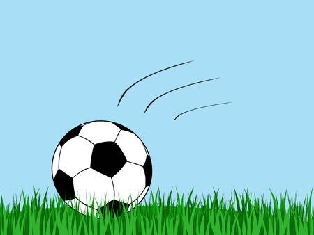 soccer ball landing in a grass field