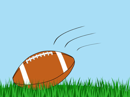 illustration of a football landing in a grass field