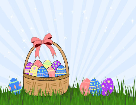 wicker basket and easter eggs on grass Vector