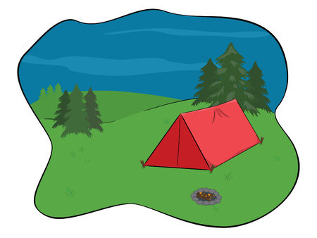 smoldering: campsite in the wilderness with red tent and smoldering campfire