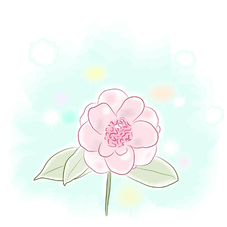watercolor illustration of a pink camellia flower Vectores