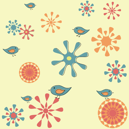 vector seamless retro spring garden background with flowers and birds Ilustração