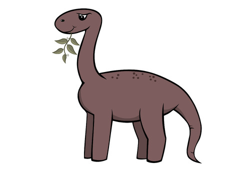 vector cartoon dinosaur eating a plant Vector