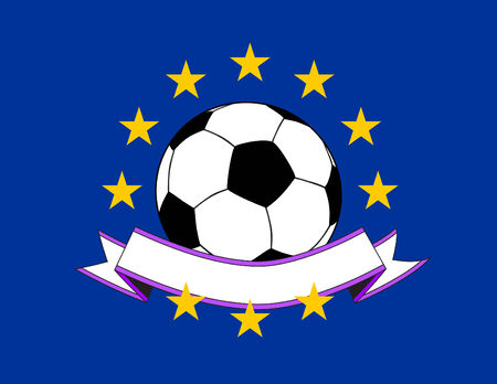Soccer ball on a European flag with curved blank banner Vectores