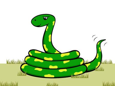 cartoon slang: grappig vector cartoon slang met geel spots Stock Illustratie