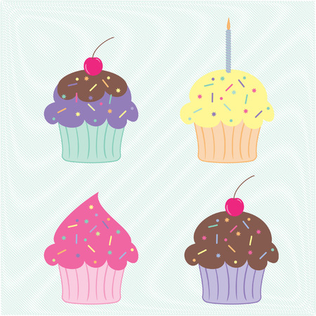 set of four colourful party cupcakes on a scribble background
