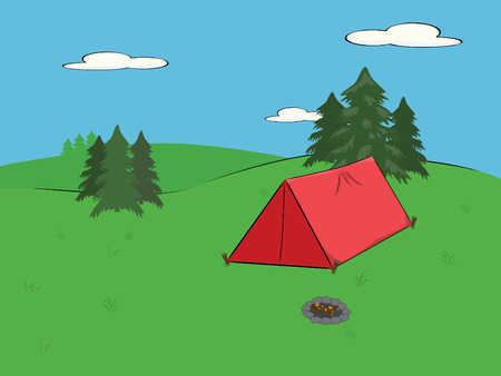 campsite in the wilderness with red tent and smoldering campfire