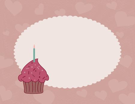 festonati: Cupcake al cioccolato con lampone ciliegina sulla sfondo decorativo cuore