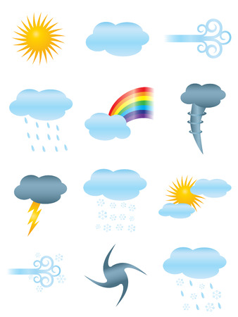 set of twelve weather icons Vector