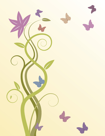 swirly vine background with butterflies