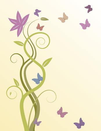 swirly wijnrankbladeren achtergrond met vlinders Stock Illustratie