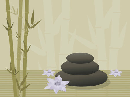 three spa rocks stacked on bamboo background with lotus blossoms Vectores