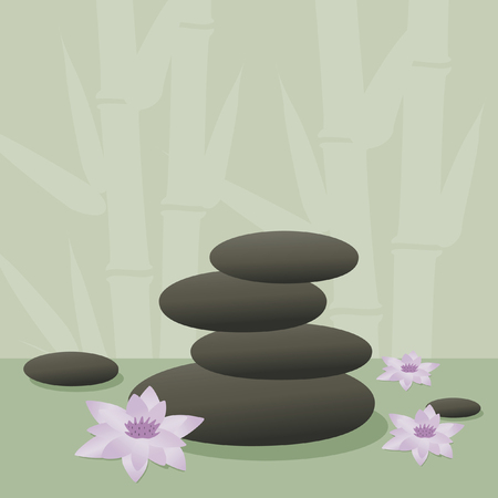 spa stones and lotus flowers with bamboo background