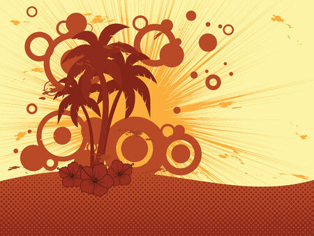 retro sunrise: vector tropical background