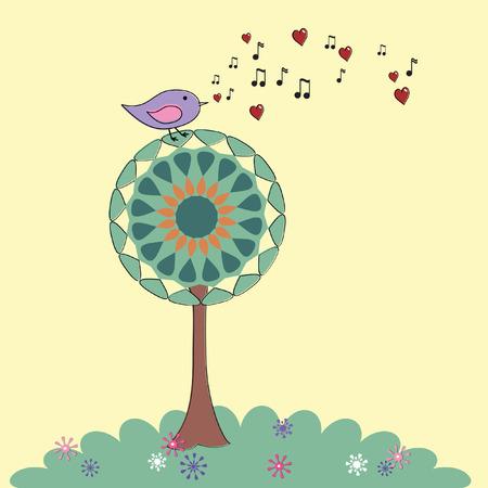 Cute retro pájaro posado en un árbol cantando una canción de amor Foto de archivo - 4963011