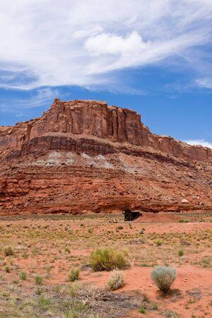 sandstone cliff and desert near Moab Utah