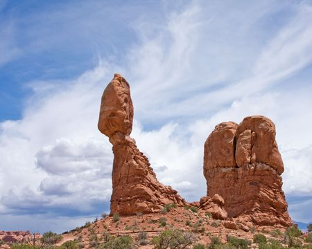 travel features: Balanced rock in Arches National Park Utah Stock Photo