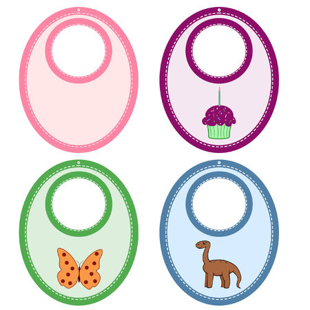 set of cute bibs with stitched edges Illustration