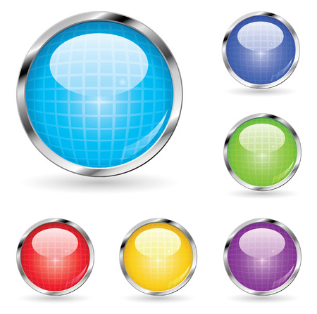 set of glossy web buttons with grid pattern
