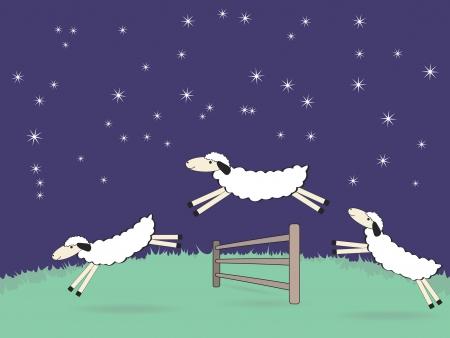 salto de valla: cute caricaturas ovejas saltando sobre una valla en el campo por la noche