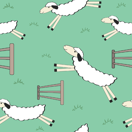 seamless background of cute cartoon sheep jumping fences