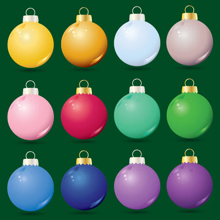 set of 12 glass Christmas ornaments Vectores
