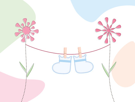 booties hanging on a clothesline suspended from retro flowers Vectores