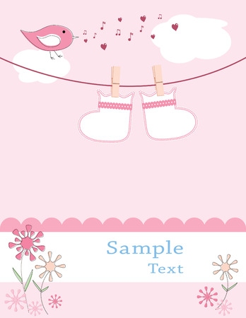 booties hanging on a clothesline with bird singing and flowers blooming on a pink background are sure to welcome the arrival of a new girl Vector