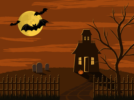 Halloween scene of spooky house in fenced yard with graveyard and tree. lit up by the moon with three bats flying past Vectores