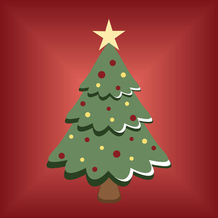 cartoon Christmas tree on red background Vectores